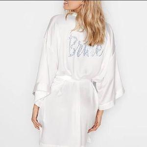 NWT Victoria's Secret Crystal Bride Satin Robe OS